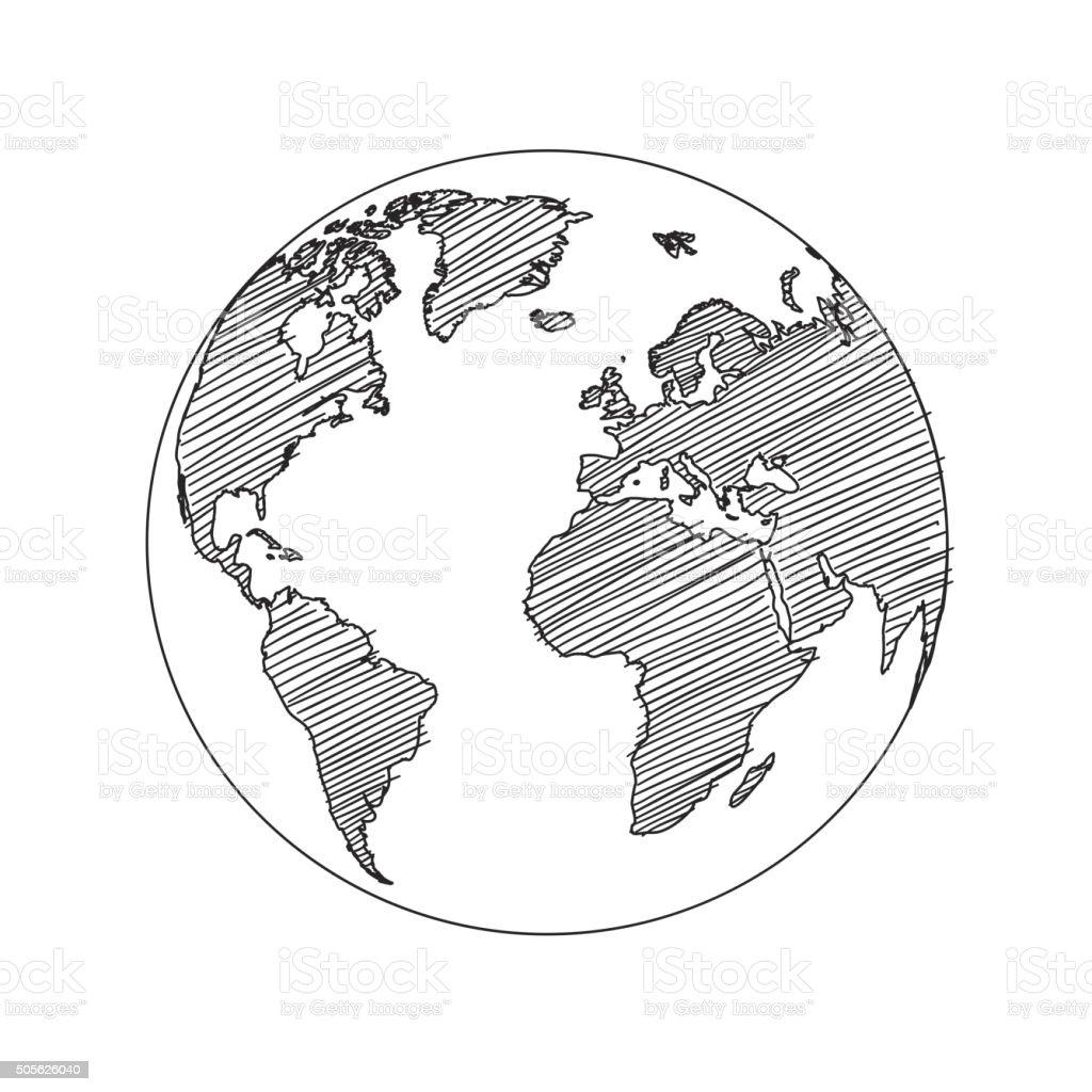 Carte Du Monde Monde Croquis Vectoriels Vecteurs libres de