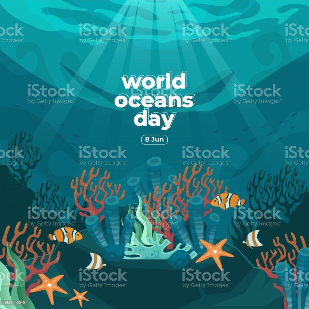 Tropical weather conditions for the ocean city area. World Oceans Dayillustrationer Och Vektorbilder Istock