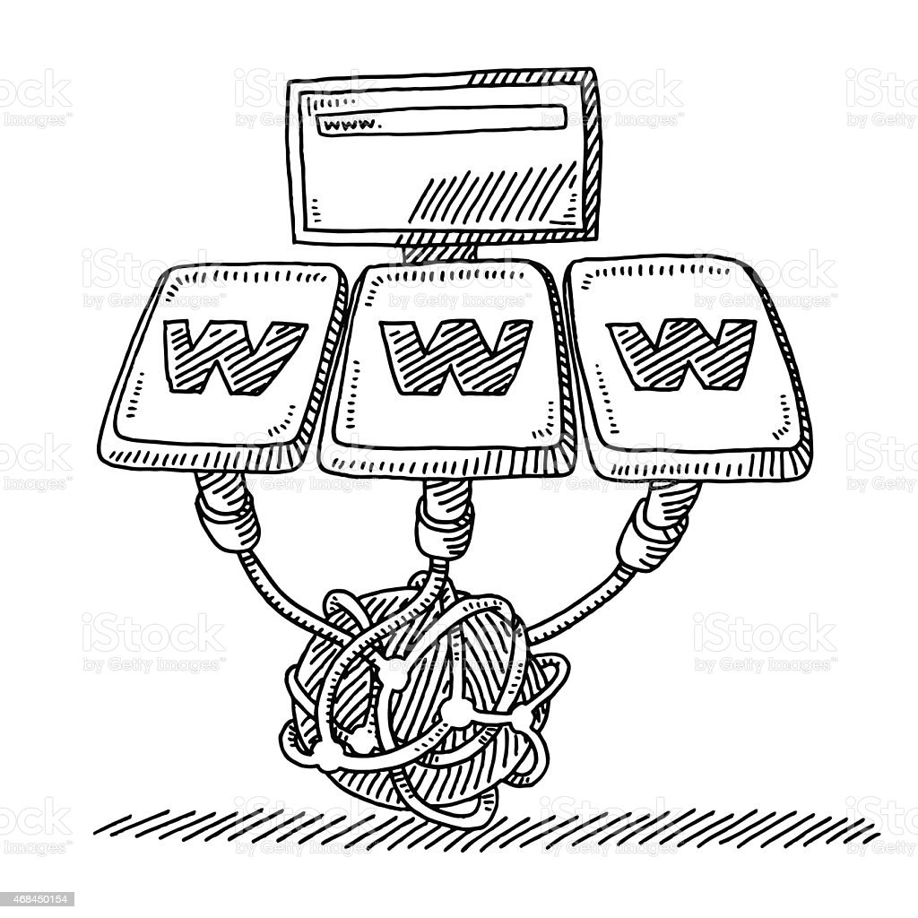 World Wide Web Network Technology Drawing Stock Vector Art