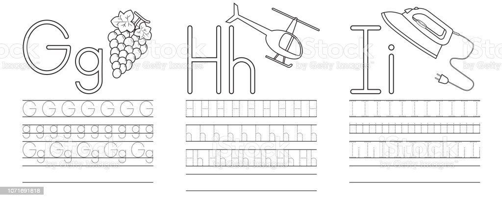Writing Practice Of Letters Ghi Coloring Book Education