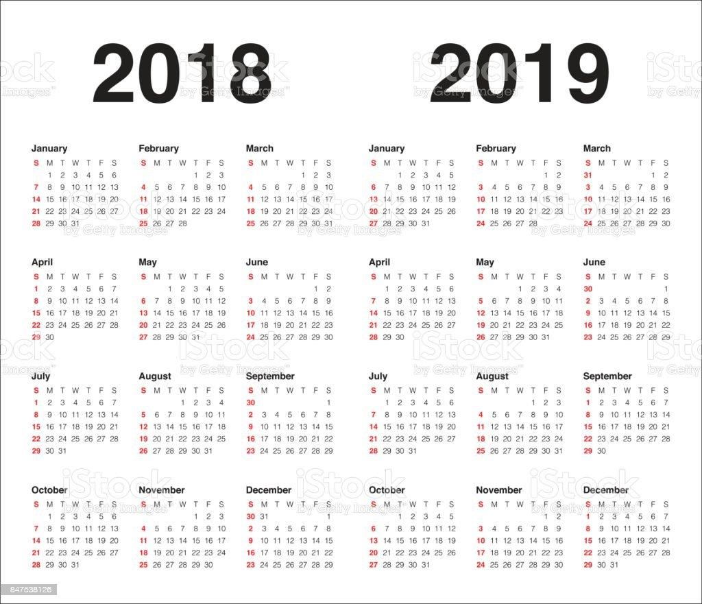Year 2018 2019 Calendar Vector Stock Vector Art More