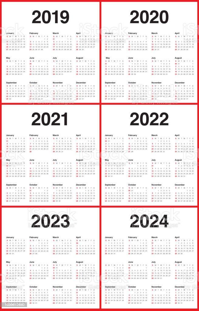 年 2019 2020 2021 2022 2023 2024 月曆向量設計範本 向量插圖及更多 2019 圖片 | iStock