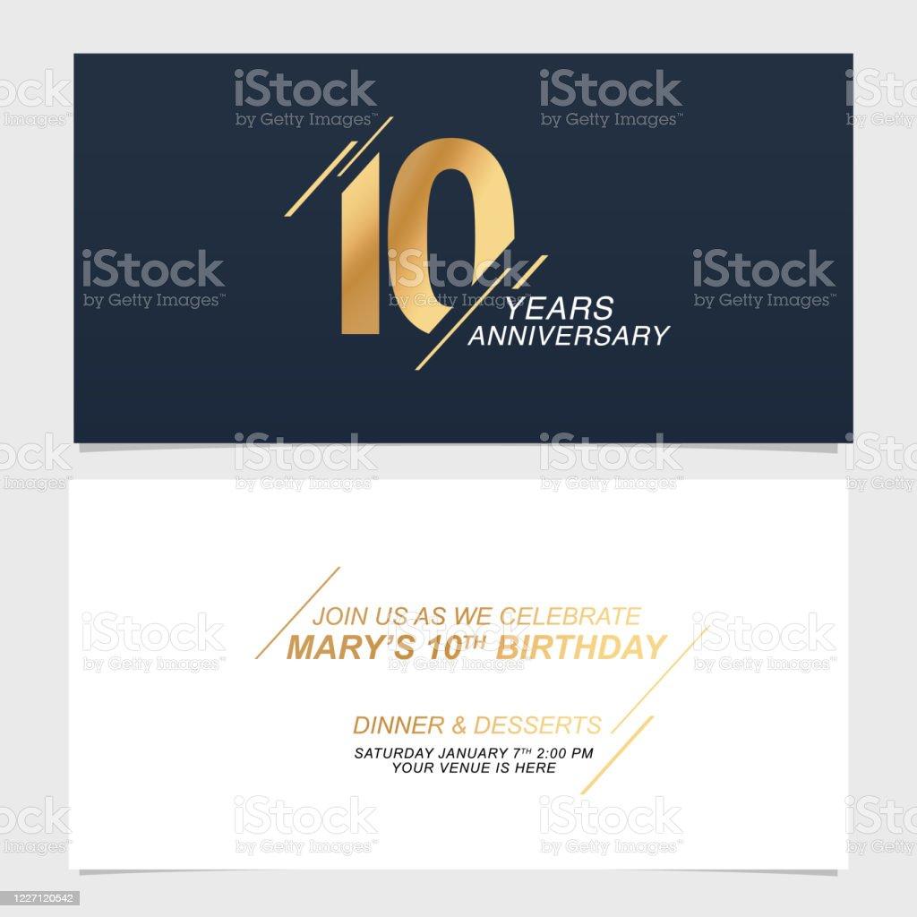 https www istockphoto com fr vectoriel 10 ans anniversaire dillustration vectorielle de carte dinvitation conception gm1227120542 361790897