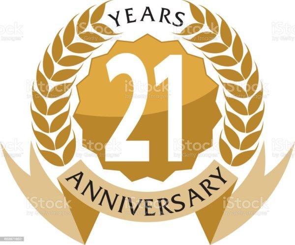 21 years ribbon anniversary stock