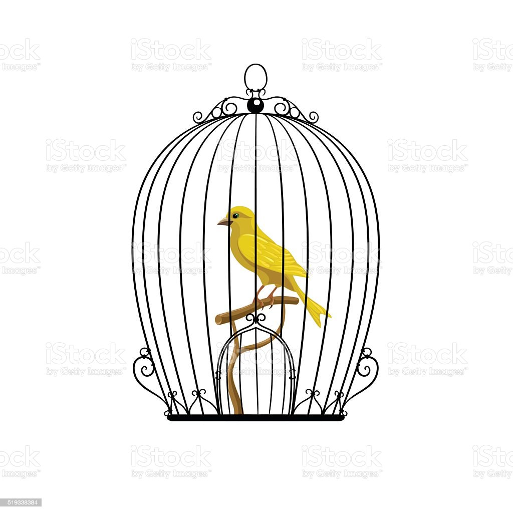 Yellow Bird In A Black Cage Stock Vector Art & More Images