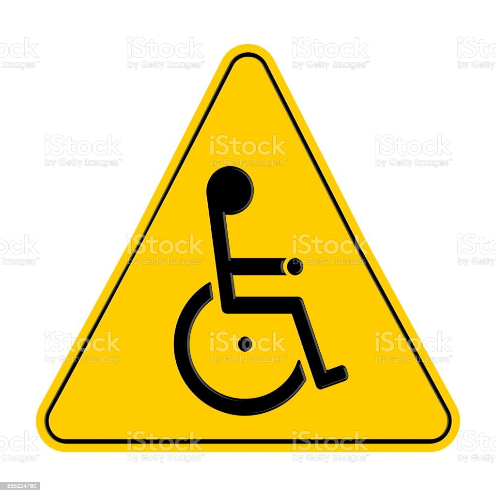 yellow wheelchair wooden baby high chairs triangle warning signs with handicapped symbol isolated on white background vector illustration