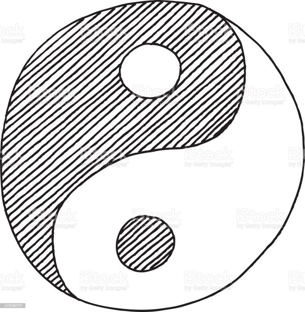 Yin Yang Symbol Drawing Stock Vector Art More Images of