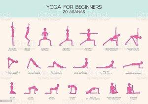 yoga poses beginners stick figure figures gymnastics basic asanas illustration doing vector activity abstract exercise adult