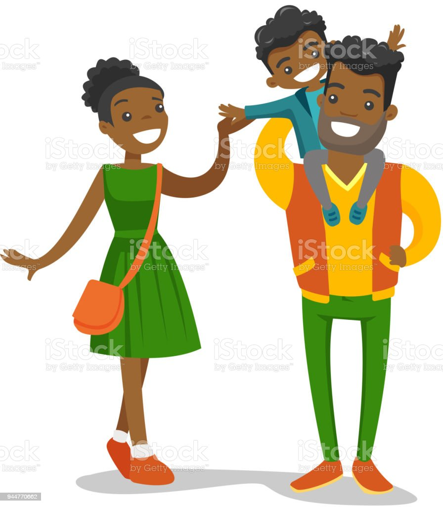 medium resolution of young african american family strolling royalty free young africanamerican family strolling stock illustration