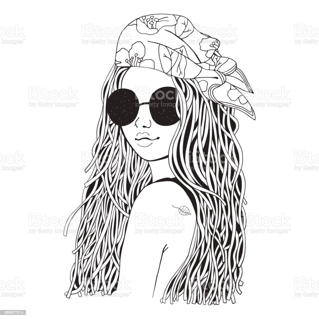 Young Beautiful Girl In Sunglasses And Bandana Black And