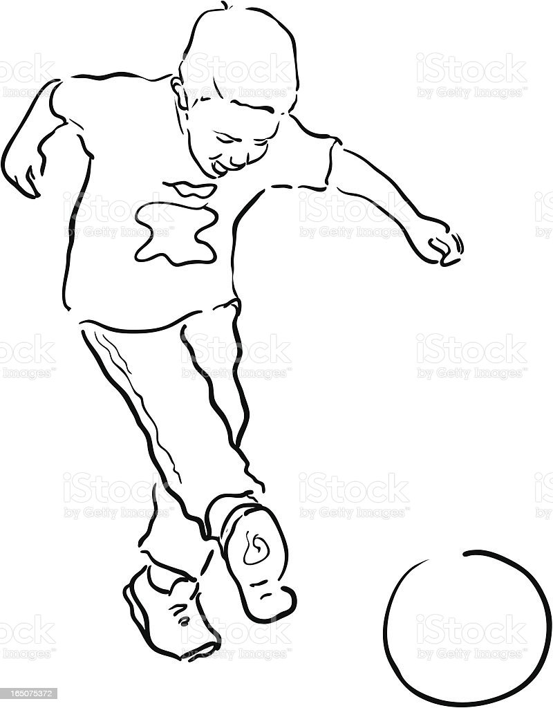 Young Boy Playing Soccer Line Drawing Stock Illustration
