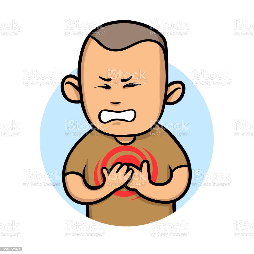 年輕人感覺胸口痛心絞痛和心臟病發作平面向量圖在白色背景下隔離向量圖形及更多不健康的生活方式圖片 - iStock