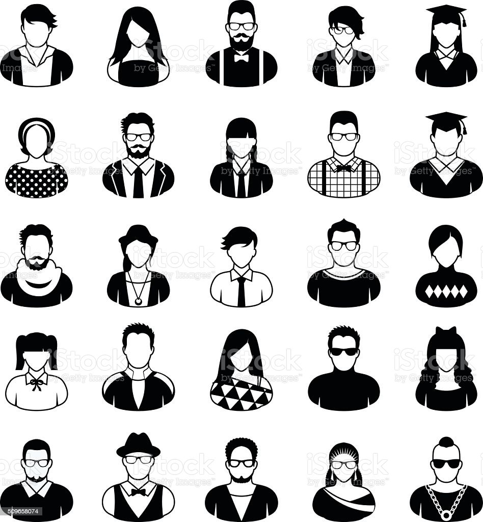 Young People Icon Set Stock Vector Art & More Images of