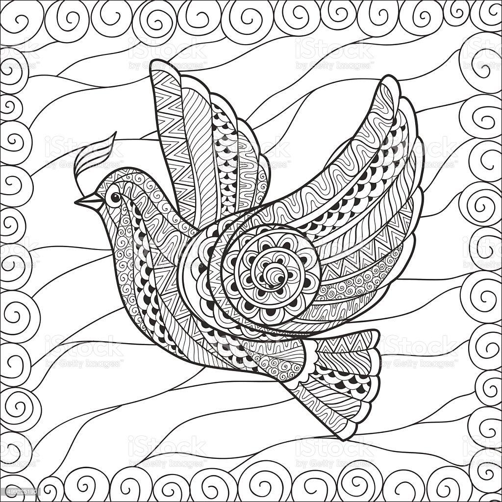 Zentangle Stilisierten Floralen Taube Des Friedens Stock