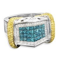 14k Gold Men's High-End Diamond Ring with Blue White and ...