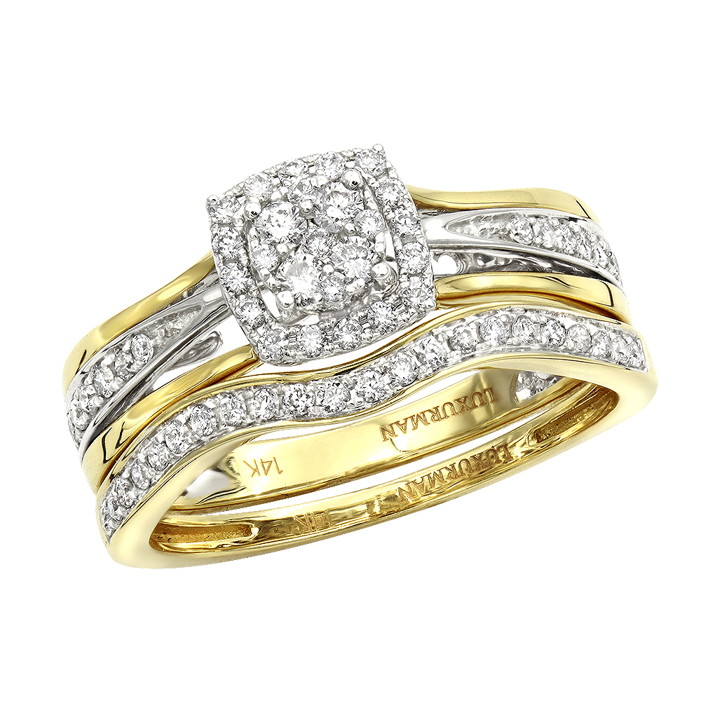 Affordable Luxurman Diamond Engagement Ring Set Wedding Band 14k Gold 04ct