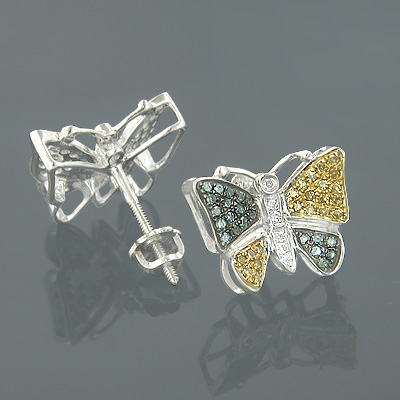 Solid Gold Blue Yellow Diamond Butterfly Earrings 050ct