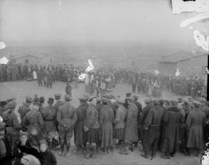 Troops of the 77th Brigade, 26th Division, watching villagers celebrate Orthodox Christmas in January 1916. THE MACEDONIAN CAMPAIGN, 1915-1918