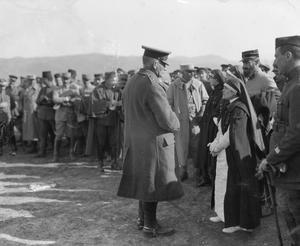 Major General the Hon. Sir Frederick Gordon D.S.O. (commanding 22nd Division), talking to a French nursing sister at a race meeting held at Lembet Camp, Salonika, 1916. THE MACEDONIAN CAMPAIGN, 1915-1918