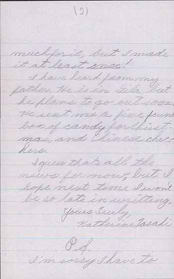 [Letter to Clara Breed from Katherine Tasaki, Poston