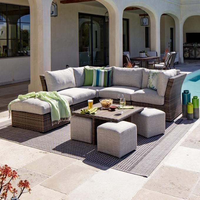 cabo 5pc sectional 2 armless chairs 2 corners ottoman