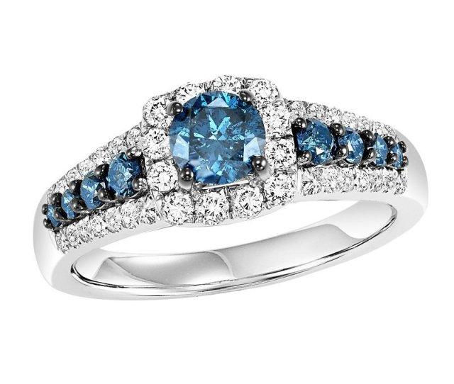 14k Blue White Diamond Engagement Ring  Ctw Complete