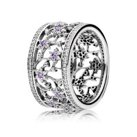 Elgin Jewellers: PANDORA Forget Me Not Ring, Purple Clear Cz