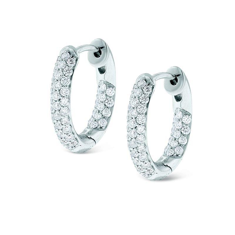 Burri Jewelers: KC Designs Diamond Inside Outside Small Hoop Earrings in 14k White Gold with 88