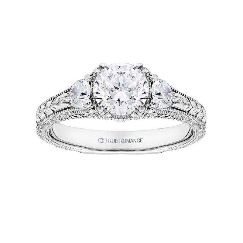 True Romance Round Cut Diamond Vintage Style Engagement