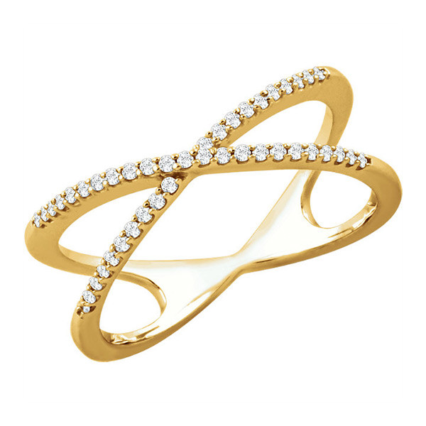 14K Yellow Gold and Criss Cross Ring with Diamonds