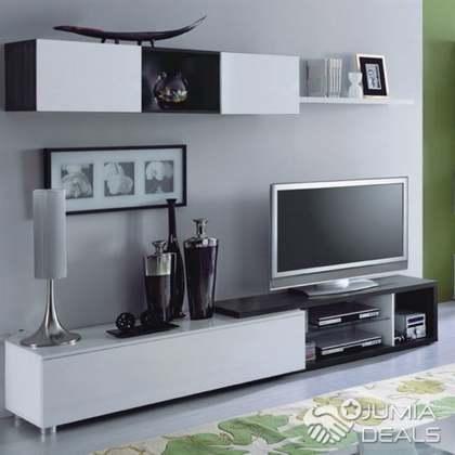naia salon meuble tv gris cendre blanc brillant