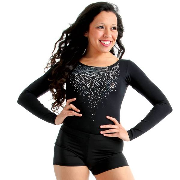 Long Sleeve Black Sequin Dance Leotard