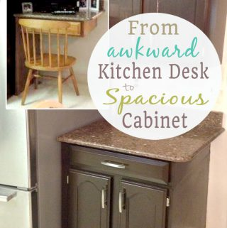 kitchen desk premade island just measuring up transforming a into cabinet space