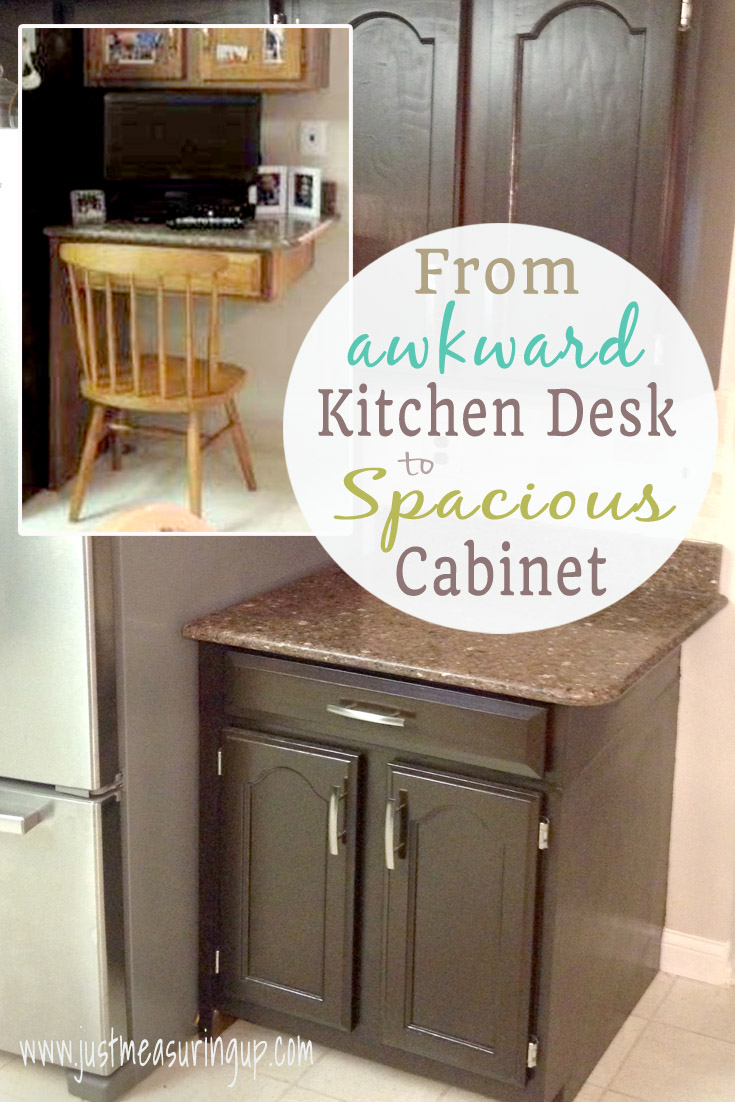 kitchen refinishing ideas recessed led lights for transforming a desk into cabinet space - tutorial