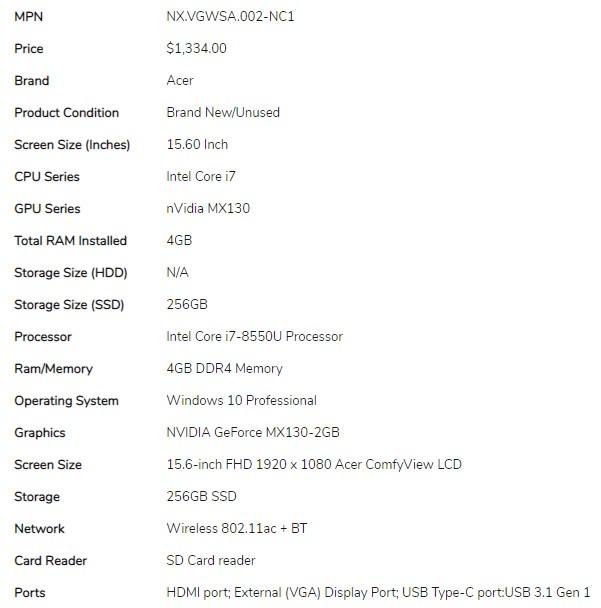 Acer Travelmate P250 15.6
