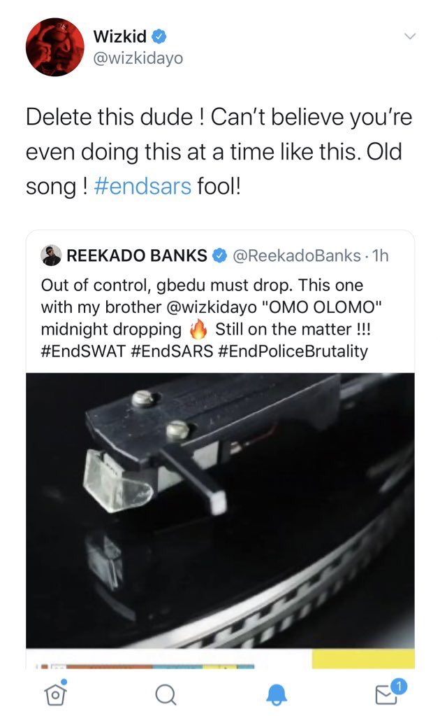 "Wizkid Calls Reekado Banks ""Fool"" For Releasing A New Song With Him During #EndSARS Protest 2"