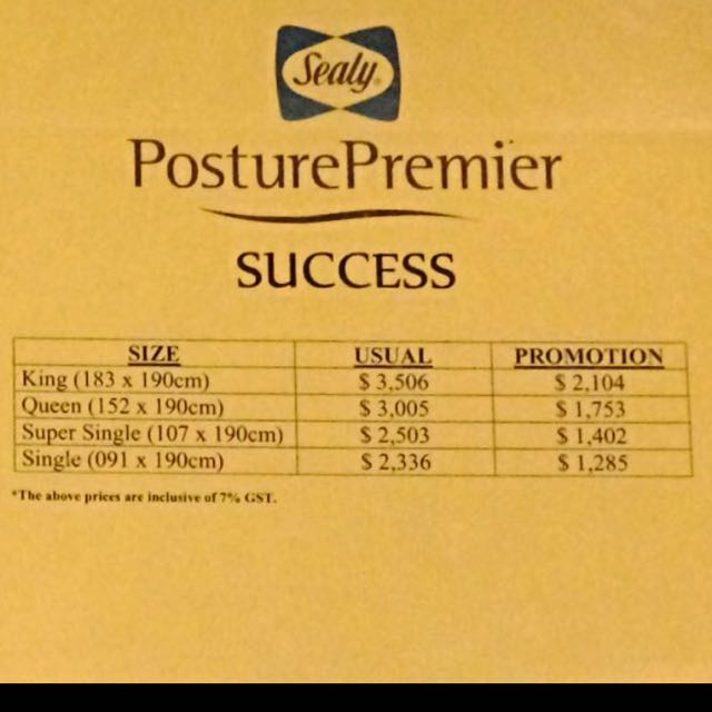 Reserved Brand New Sealy Super Single Size Posture Premier Success Mattress Home Furniture On Carou