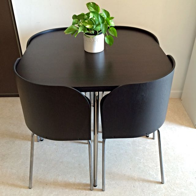 space saving dining table and chairs quantum wheelchair ikea fusion with 4 (excellent condition), furniture on carousell
