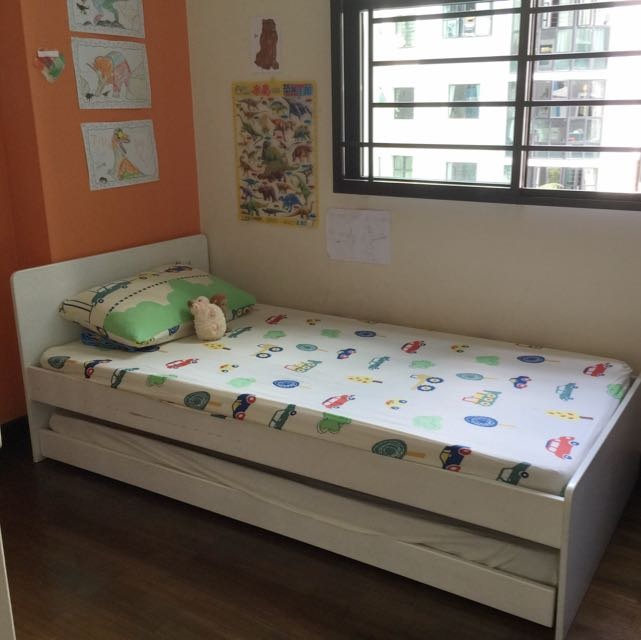 Child Single Bed Frame With Pull Out Compartment Reserved Furniture On Carousell