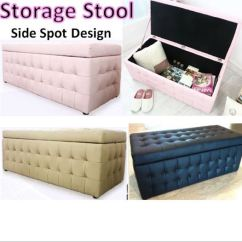 Sofa Box T Cushion New Leather Storage Seat Bench Stool Chair Ottoman Photo