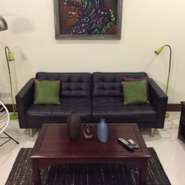brown leather sofa on legs toddler bed uk ikea landskrona three seat dark couch with metal excellent condition just one year old furniture carousell