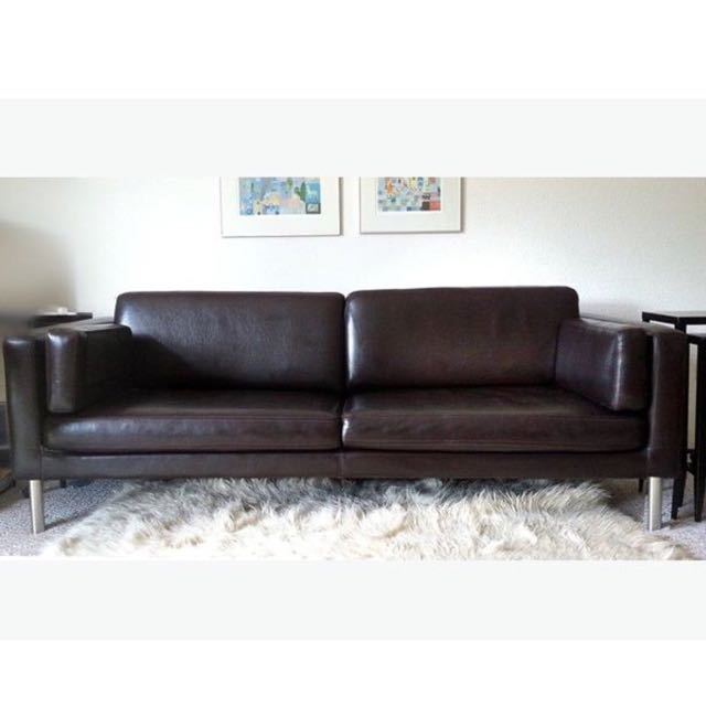 ikea sater sofa large cover 70 x 170 2.5-seat sofa, dark brown, home & furniture on ...