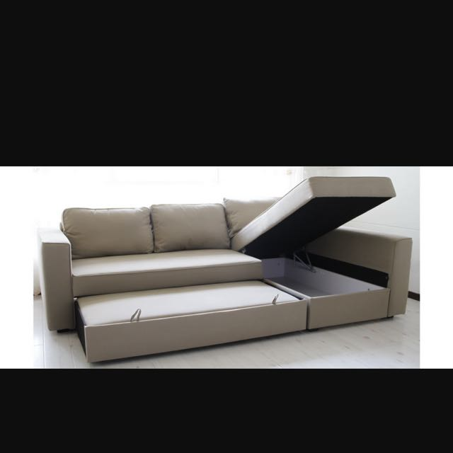 manstad sofa bed homemade modern outdoor ikea tan left side l furniture sofas on carousell share this listing