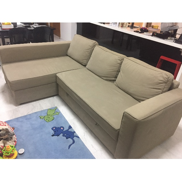 manstad sofa bed 2 seater sofas fabric ikea beige furniture on carousell photo