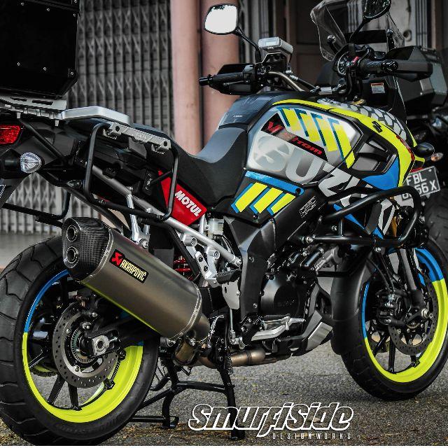 Suzuki Vstrom Customized Body Wrap And Rim Decals Car