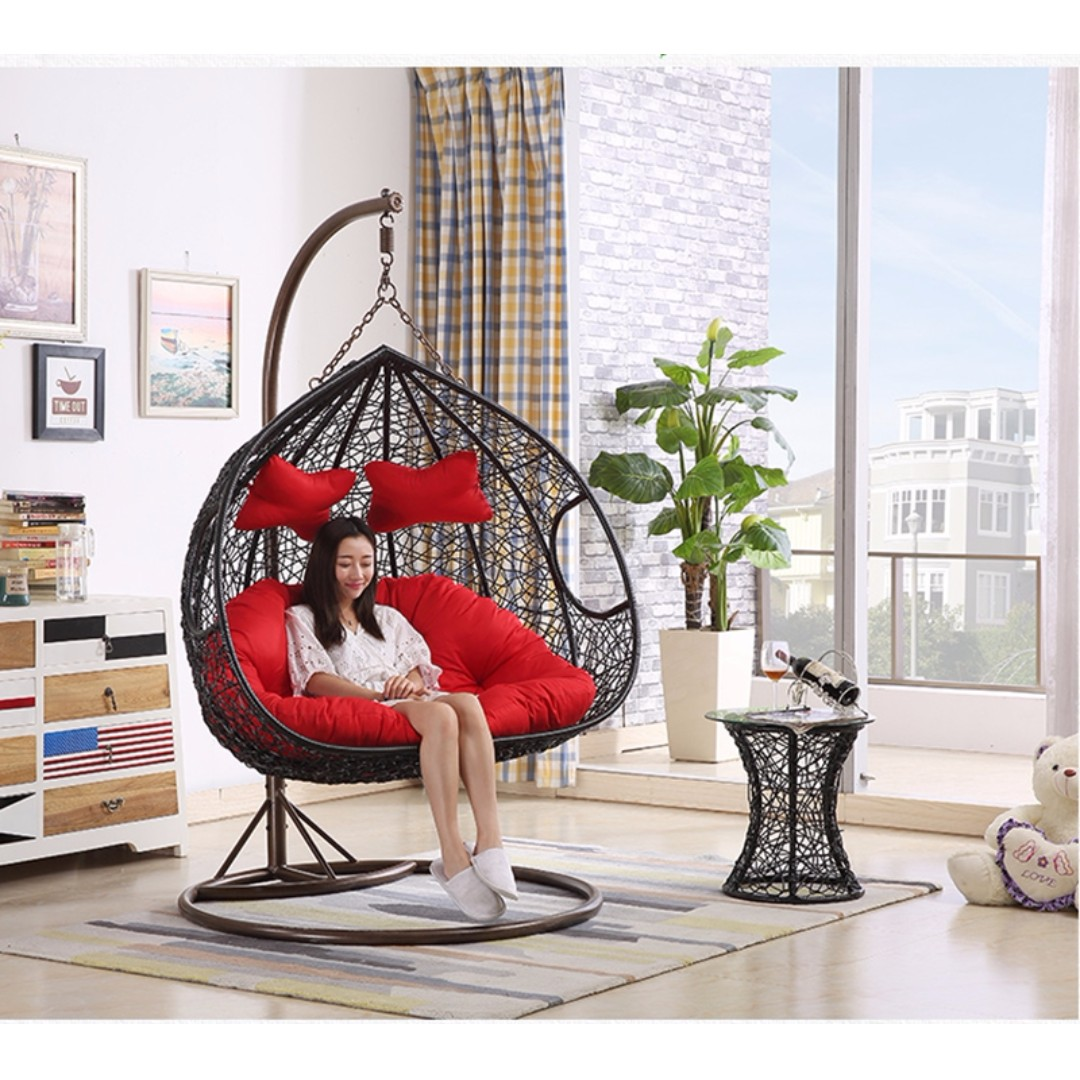 Egg Swing Chairs Double Swing Chair Outdoor Hanging Egg Pod Chair Garden Rattan Sofa Outdoor Wicker Chair Hanging Basket Po