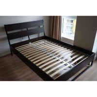 IKEA TRYSIL QUEEN Bed frame, dark brown, Furniture, Beds ...