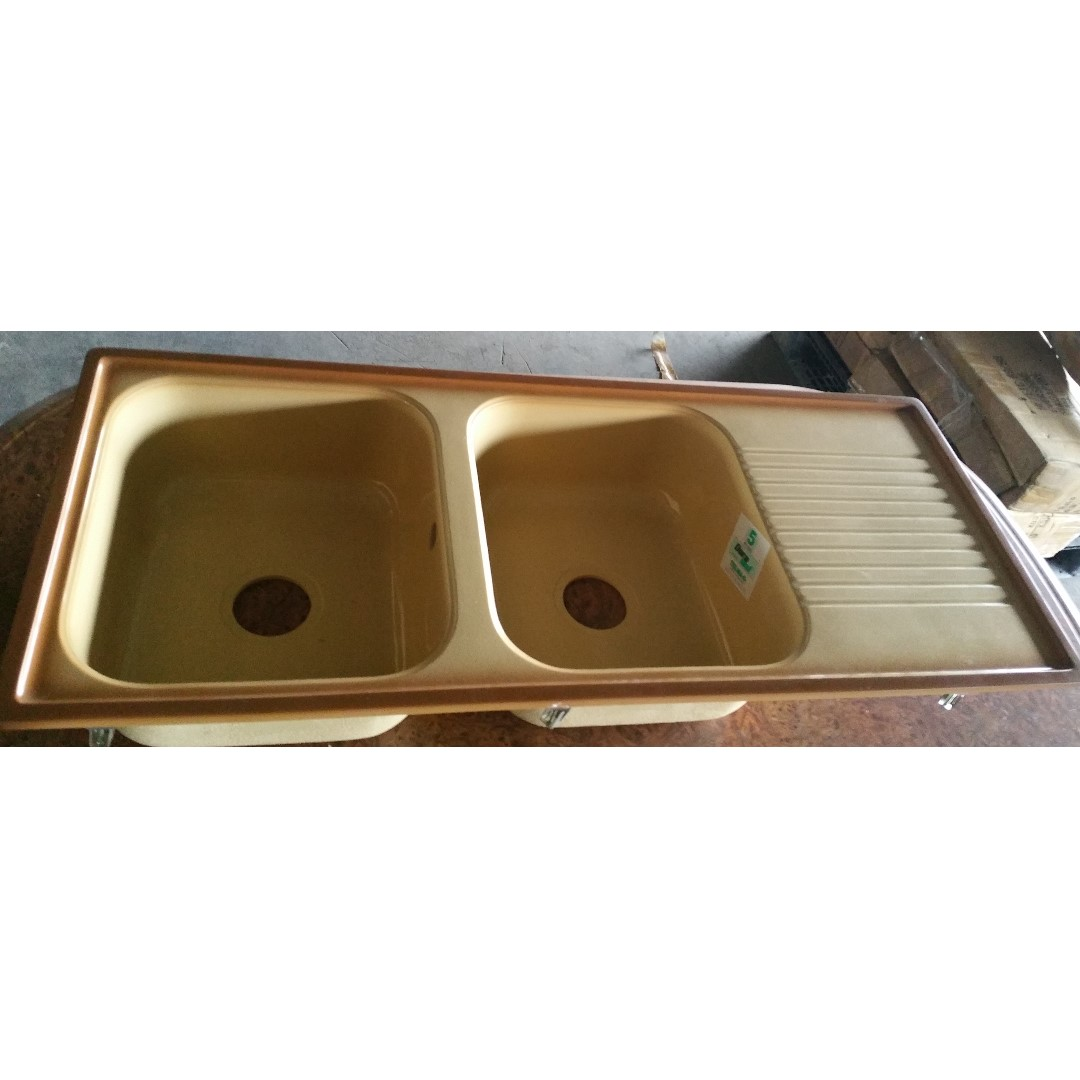 kitchen sinks with drain boards target cabinet double bowl sink board telma brand home appliances cleaning laundry on carousell