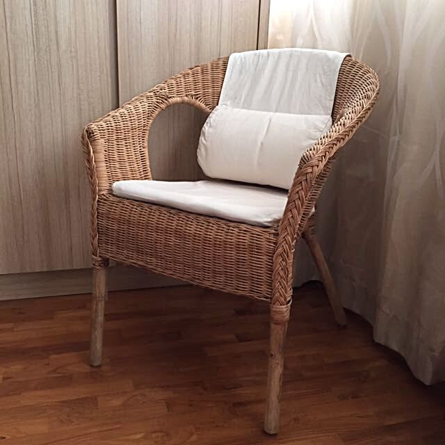 IKEA AGEN Rattan Chair with NORNA Chair Pad  HASTO