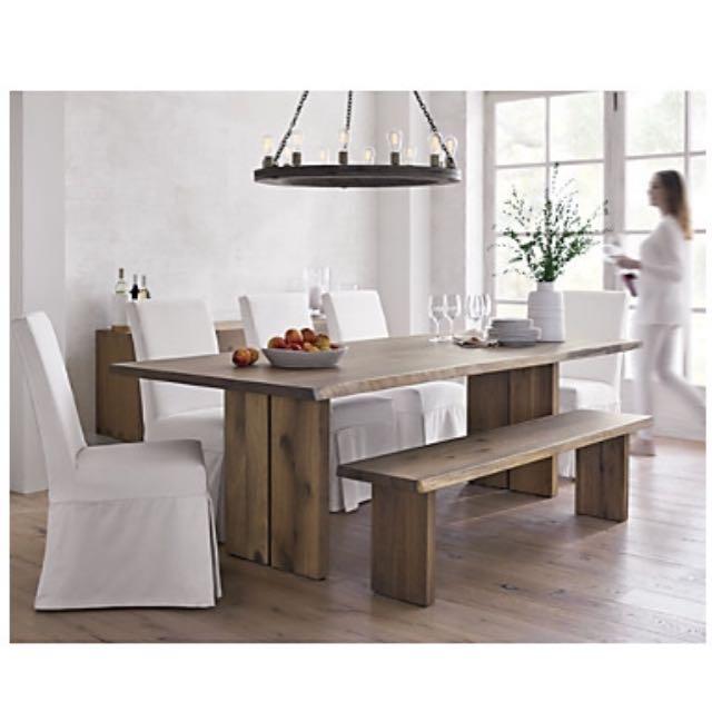 crate barrel white oak 77 table